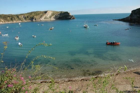 The unspoilt Lulworth Cove on the Jurassic World Heritage Coast of Dorset.