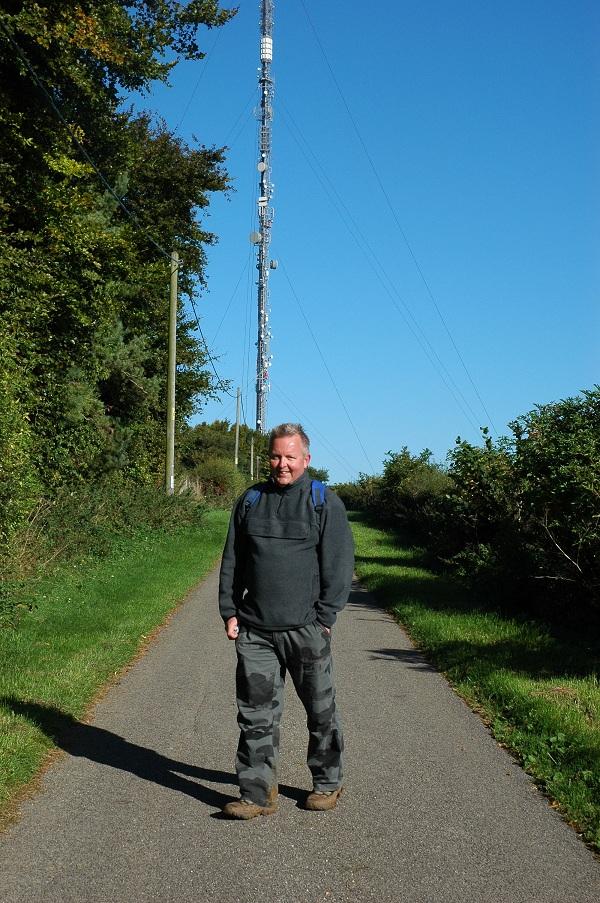 Steve heading toward the tv trasmitter at Hannington.
