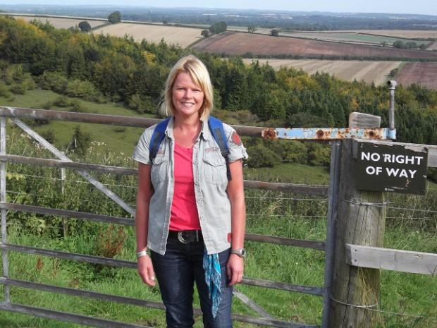 Jenny Kirwan (me) on The Gallops in Kingsclere, Hampshire.