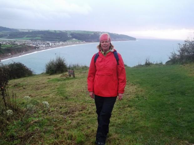 Jenny Kirwan (me) just outside Seaton heading towards the fishing village of Beer, Devon.