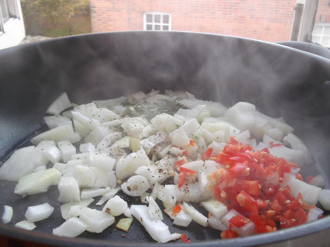 Onions, garlic, chili and rosemary......
